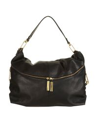 TOPSHOP | Black Clip and Leather Slouch Bag | Lyst