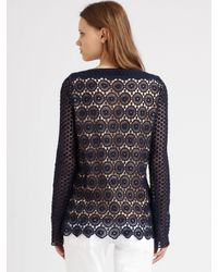 Tory Burch | Blue Janeen Lace Top | Lyst