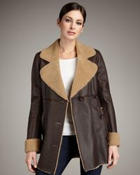 UGG | Brown Lequoia Shearling-lined Coat | Lyst