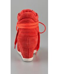 Ash | Red Bowie Suede Lace Up Wedge Sneakers | Lyst