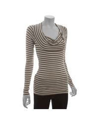 Bailey 44 | Natural Trench Striped Stretch Long Sleeve Cowl Neck Top | Lyst