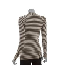 Bailey 44 - Natural Trench Striped Stretch Long Sleeve Cowl Neck Top - Lyst