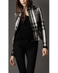Burberry - Gray Beat Check Peplum Waist Jacket - Lyst