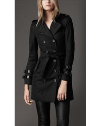 Burberry | Black Cuff Detail Trench Coat | Lyst