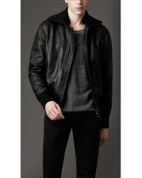 Burberry | Black Leather Bomber Jacket for Men | Lyst