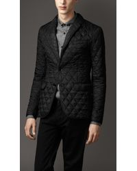 Burberry | Black Quilted Blouson with Suede Patches for Men | Lyst