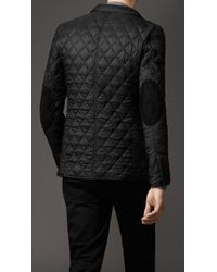 Burberry - Black Quilted Blouson with Suede Patches for Men - Lyst