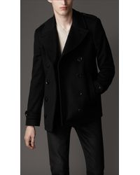 Burberry | Black Wool and Cashmere Pea Coat for Men | Lyst
