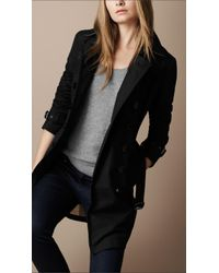 Burberry Brit | Black Cotton Trench Coat | Lyst