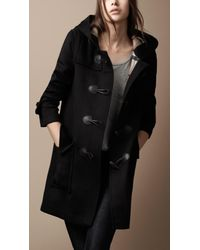 Burberry Brit | Black Wool Duffle Coat with Check Lining | Lyst