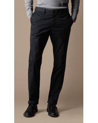 Burberry Brit | Blue Slim Fit Cotton Chino Trousers for Men | Lyst