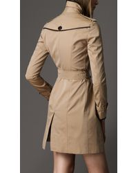 Burberry - Natural Leather Detail Trench Coat - Lyst