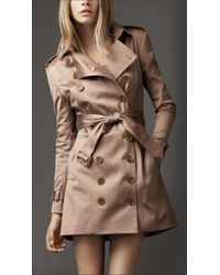 Burberry | Natural Nude Sateen Trench Coat | Lyst