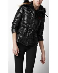 Burberry Sport | Black Fur Trim Ski Jacket | Lyst