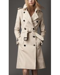 Burberry | Natural Long Cotton Trench Coat | Lyst