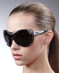 Dior | Black Oversize Shield Sunglasses | Lyst