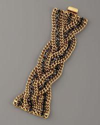 Elizabeth Cole | Metallic Braided Crystal Chain Bracelet | Lyst