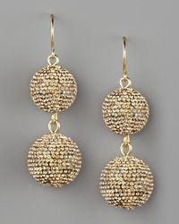 Fragments - Metallic Pave Ball Drop Earrings, Golden - Lyst
