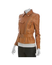 Gucci | Natural Leather Belted Motorcycle Jacket | Lyst