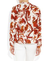 Gucci | Red Printed Silk Crepe De Chine Blouse | Lyst