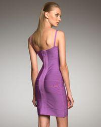 Hervé Léger - Purple Spaghetti-strap Bandage Dress - Lyst