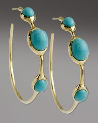 Ippolita - Blue Turquoise 3-stone Hoop Earrings - Lyst