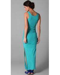 James Perse | Blue Side Split Long Tank Dress | Lyst