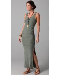James Perse | Gray Side Split Long Tank Dress | Lyst