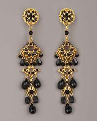 Jose & Maria Barrera - Crystal & Bead Drop Earrings, Black - Lyst