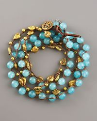 Love Heals - Blue Aqua Jade & Bronze Wrap Bracelet - Lyst