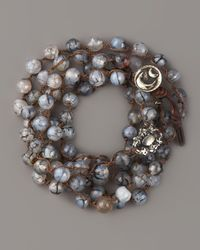 Love Heals - Black Agate Bead & White Bronze Bracelet - Lyst
