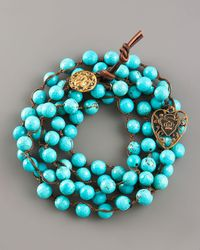 Love Heals - Blue Turquoise Bead Wrap Bracelet - Lyst