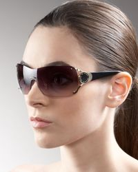 Marc By Marc Jacobs   Brown Logo-temple Shield Sunglasses   Lyst