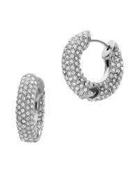 Michael Kors | Metallic Pave Huggie Hoop Earrings, Silver Color | Lyst