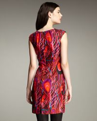 MILLY | Ariana Printed Shirred Sheath Dress | Lyst