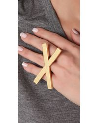 Noir Jewelry - Metallic X Ring - Lyst