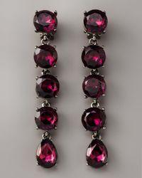 Oscar de la Renta - Red Crystal Drop Clip Earrings, Amethyst - Lyst