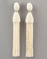 Oscar de la Renta - White Tassel Clip Earrings - Lyst