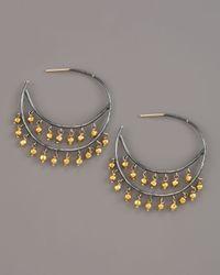 Padma - Metallic Beaded Hoop Earrings, Medium - Lyst