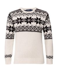 Polo Ralph Lauren | Natural Intarsia Snowflake Crew Neck Jumper for Men | Lyst