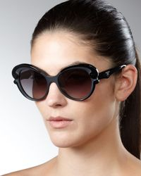 Prada | Cat-eye Sunglasses, Black | Lyst