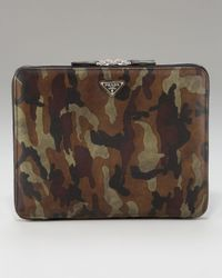 Prada | Green Camo Saffiano Ipad Case for Men | Lyst