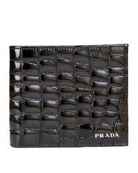 Prada | Black Croc-embossed Wallet for Men | Lyst