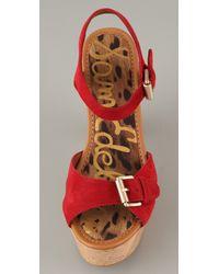 Sam Edelman | Red Warner Suede Cork Platform Sandals | Lyst