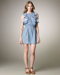 See By Chloé   Blue Ruffled Denim Dress   Lyst