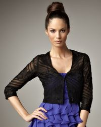 Sue Wong - Black Beaded Cropped Jacket - Lyst
