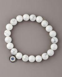 Sydney Evan | White Howlite & Diamond Evil Eye Bracelet | Lyst