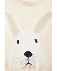 TOPSHOP - Natural Knitted Bunny Motif Jumper - Lyst