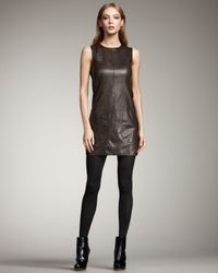 VINCE | Black Leather Tunic Dress | Lyst