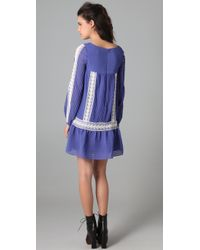 Alice By Temperley - Blue Esmeralda Pleated Chiffon and Lace Dress - Lyst